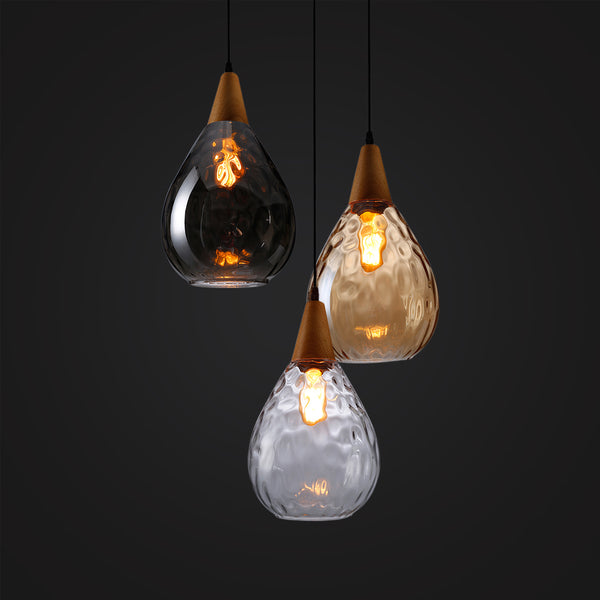 modern glass wood hanging lamp home design
