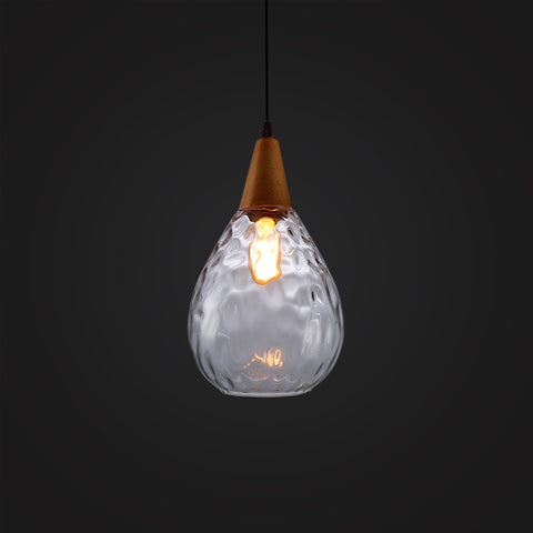 white modern glass wood ceiling lamp