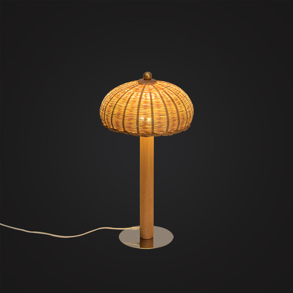 mushroom bamboo wood desk lamp modern lighting design