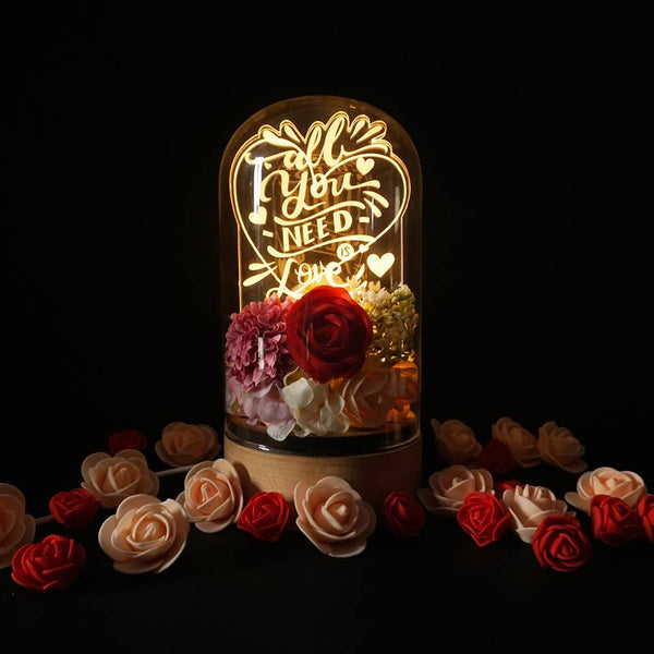 Love Floral LED Wood Desk Lamp