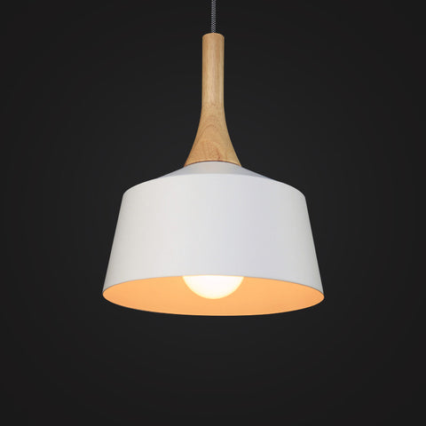 white modern wood pendant lamp