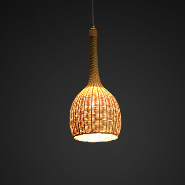 nordic bottle shaped bamboo and wood hanging lamp