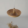 Bowl Bamboo and wood hanging lamp
