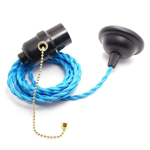 blue twisted lighting flex cable hanging edison lamp