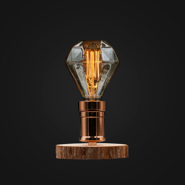 diamond edison wood desk lamp gift love