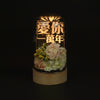 Personalised Floral LED Wood Desk Lamp