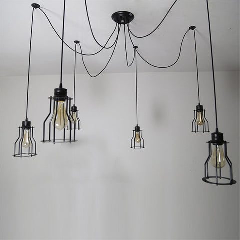black vintage industrial cage ceiling lamp
