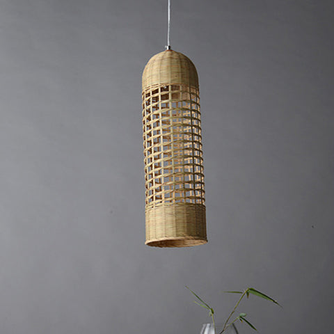 modern cone wood bamboo pendant light