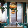 modern wood bamboo hanging lamp restaurant interior