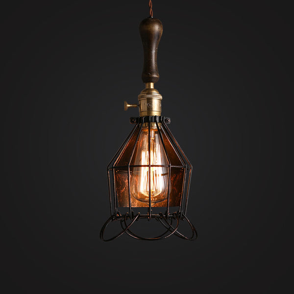 vintage industrial ceiling cage pendant light