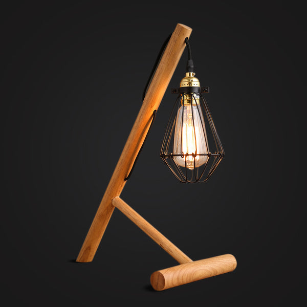 modern industrial wood desk lamp