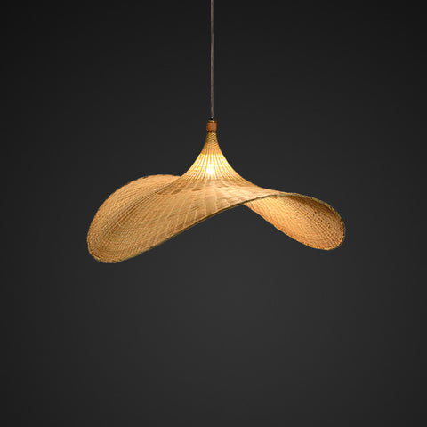 hat shape bamboo and wood pendant lamp
