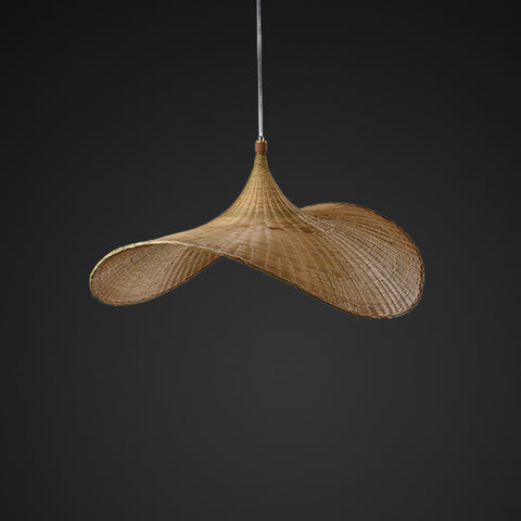 hat shape bamboo and wood hanging lamp