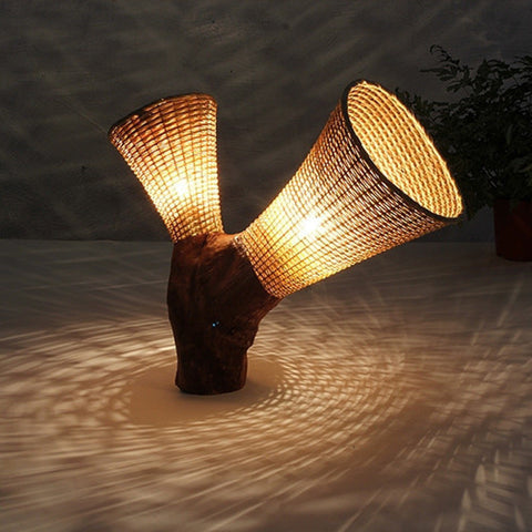 modern thick wood bamboo table lamp