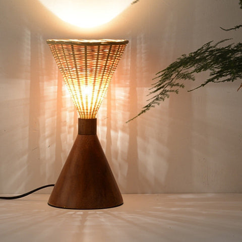 modern wood and bamboo table light