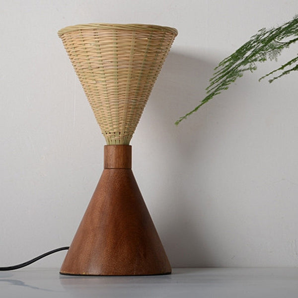 modern wood and bamboo desk lamp