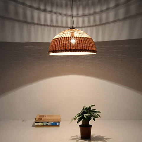 large bamboo and wood ceiling lamps