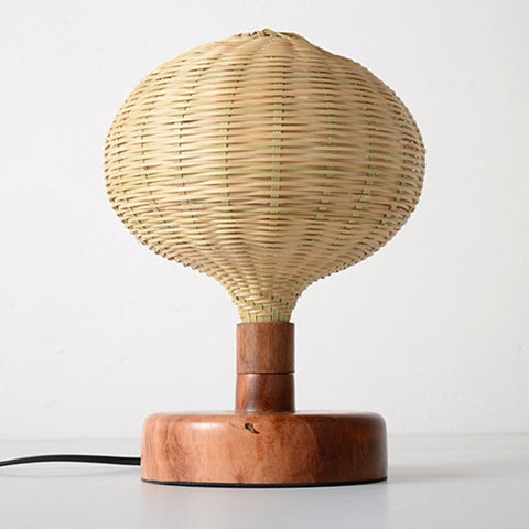 modern decorative wood and bamboo desk lamp