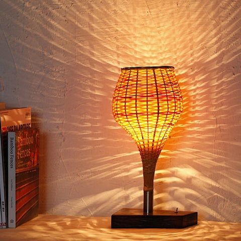 modern wood and bamboo table lamp