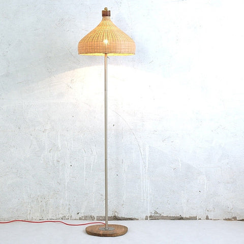 modern wood bamboo floor lamp