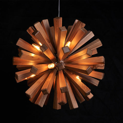 modern ash wood pendant lamp interior