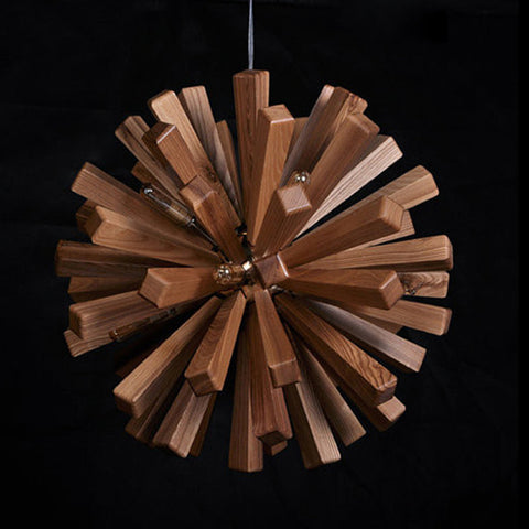 modern ash wood hanging lamp interior