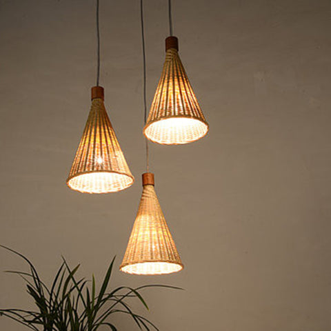 modern wood and bamboo hanging light