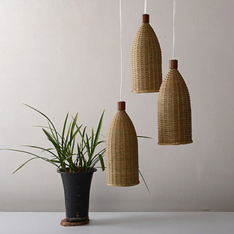 modern bamboo and wood pendant lamp