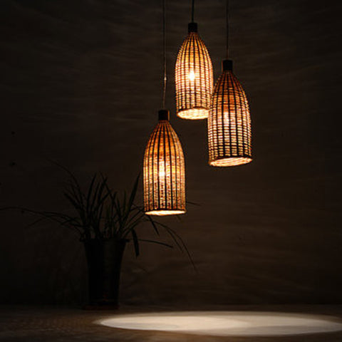 modern bamboo and wood hanging lamp