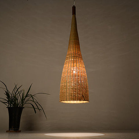 large modern bamboo wood hanging lamp