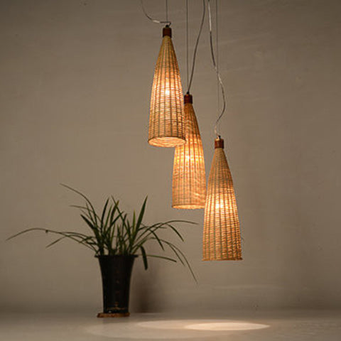 large modern bamboo and wood ceiling lamp