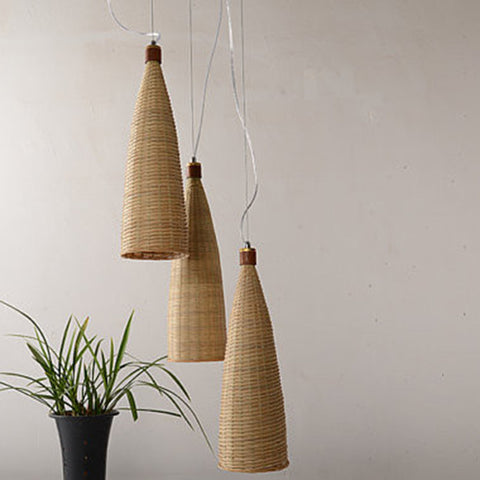 large bamboo and wood hanging light