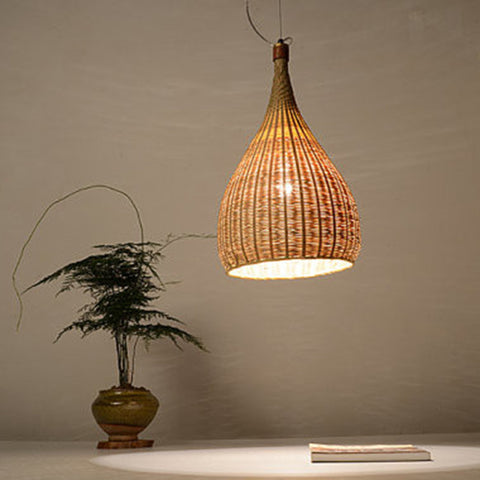 large bamboo wood ceiling light