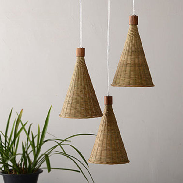 modern wood and bamboo pendant lamp