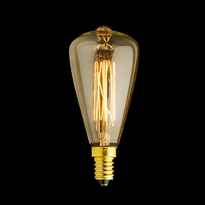 e14 squirrel cage filament light bulb with teardrop light with shade
