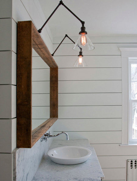 Swing Arm Glass Cone Wall Sconces Vintage Industrial