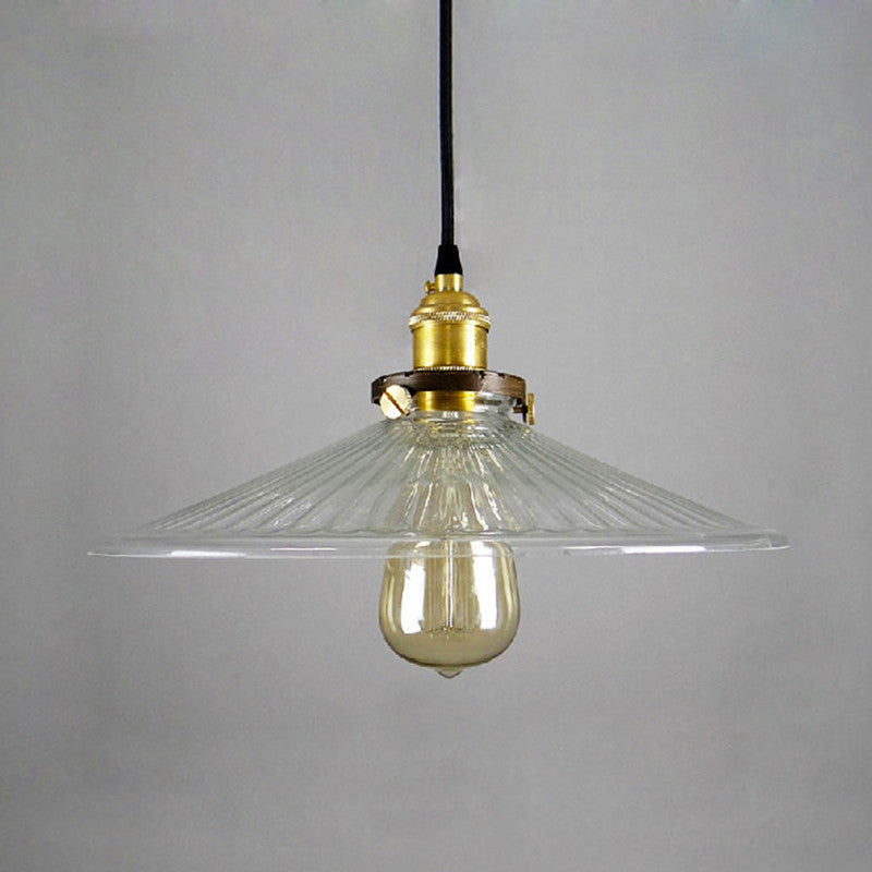 Vintage French Style Holophane Glass Lampshade Pendant