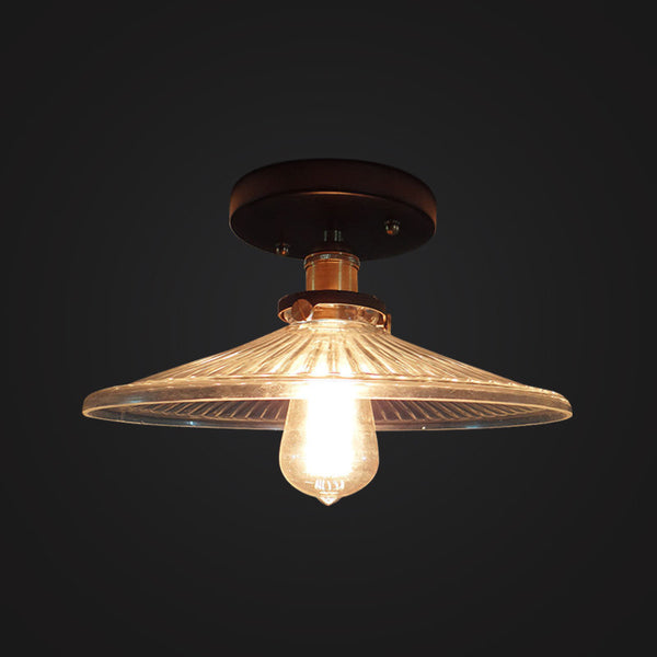 Industrial Glass Lampshade Mounted Light