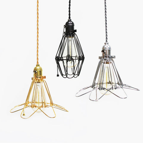 industrial wire lamp cage pendants