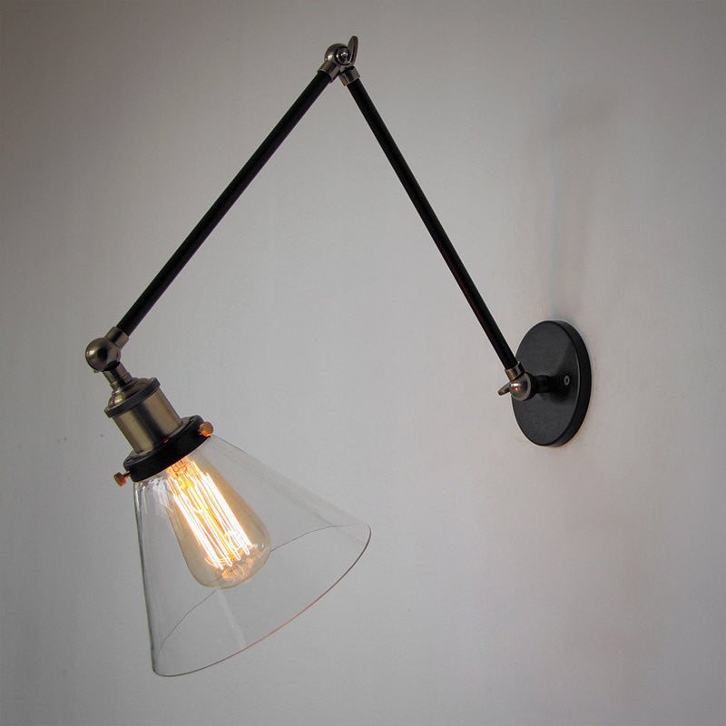 ... industrial glass swing arm wall lamp