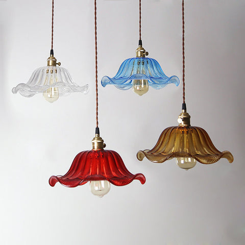 vintage Colored Glass hanging Lampshade light fixture