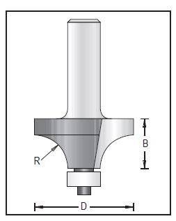 Dimar 109RC8-XX Series Rounding Over Bits, 2 Flutes