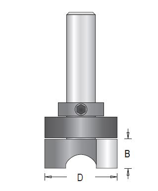 Dimar 111RC4-XX Series Mortising Bits, Down Shear, with Centre Ball Bearing Guide, 2 Flutes