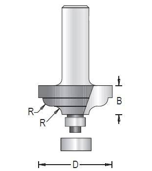 Dimar 125RXX-X Series Ogee Fillet Bits with Ball Bearing Guide, 2 Flutes
