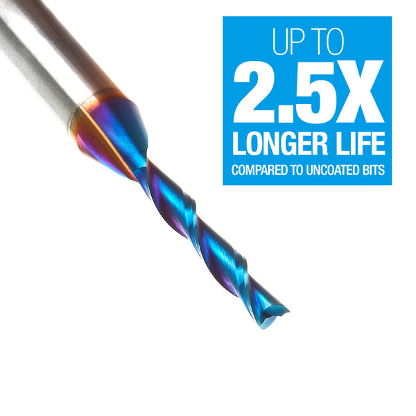 Amana Tools 46125-K Solid Carbide Spektra™ Extreme Tool Life Coated Spiral Plunge 1/8 Dia x 13/16 x 1/4 Inch Shank Up-Cut, 2 Flutes