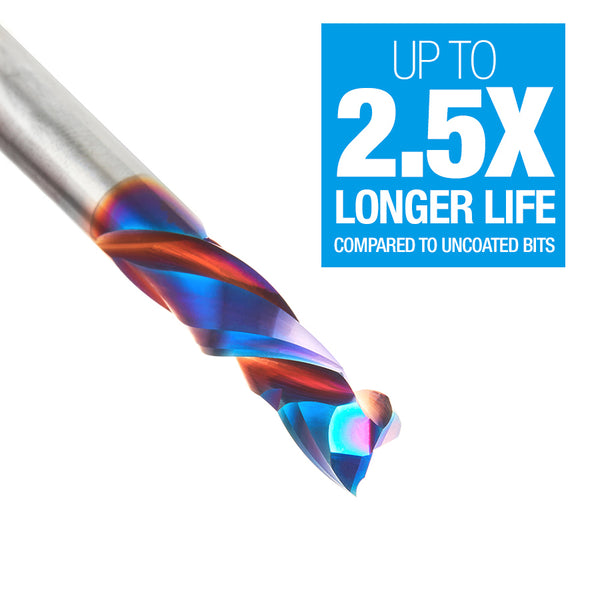 Amana Tools 46170-K CNC Solid Carbide Spektra™ Extreme Tool Life Coated Compression Spiral 1/4 Dia x 7/8 x 1/4 Inch Shank, 2 Flutes-UPCUT