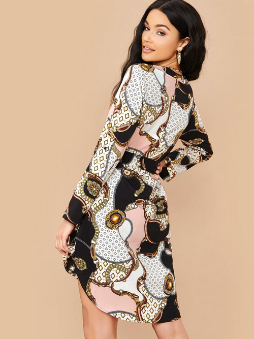 Chain Print Curved Hem Belted Dress