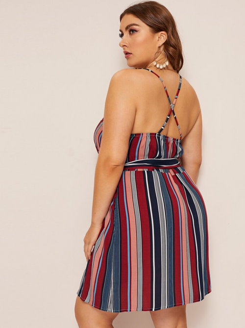 Criss Cross Striped Cami Dress