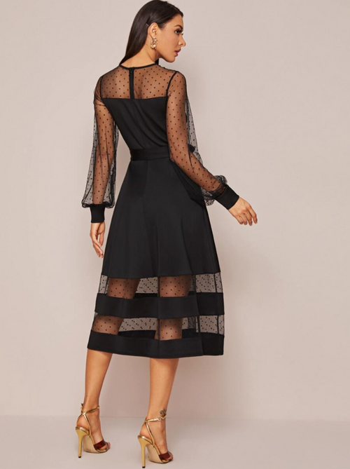 Mesh Shoulder Self Belted Dress