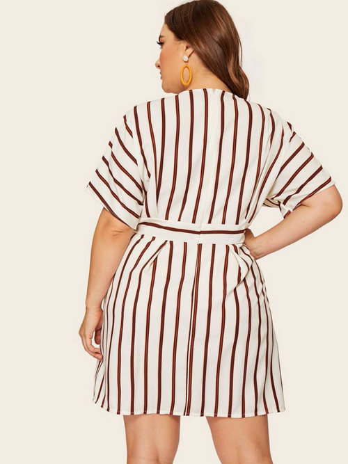 Deep V-neck Striped Dress